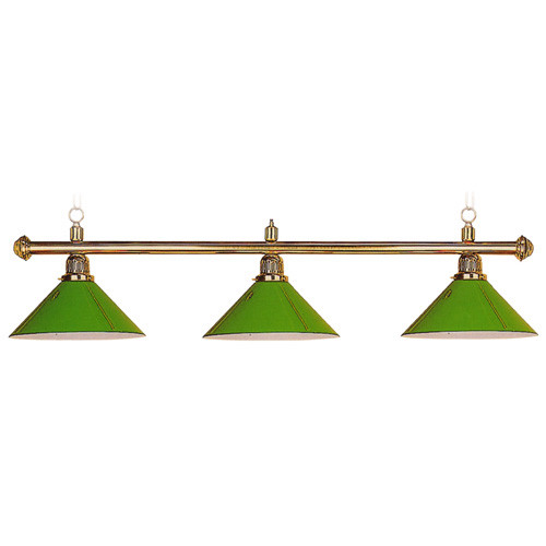 """Sterling Solid Brass Pool Table Lamp, 58"""", 3 Green Aluminum Shades"""