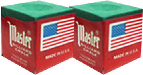 Masters Pool Cue Chalk, Green 2-Pack