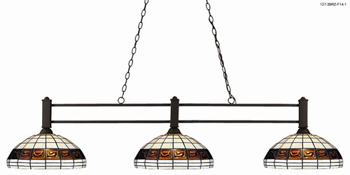 Challenger Pool Table Light - Bronze with Tiffany Glass Shade