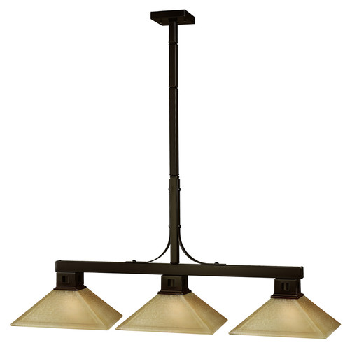 Flatwater Pool Table Light - Bronze with Mission Golden Linen Glass Shade