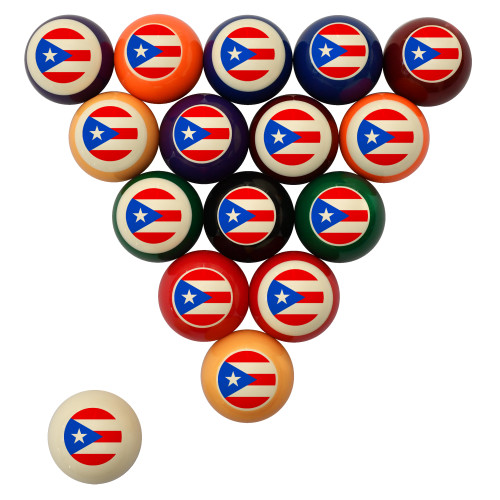 Flag of Puerto Rico Billiard Ball Set