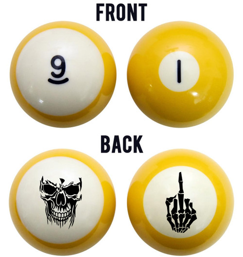 Skull & Middle Finger Billiard Ball Set