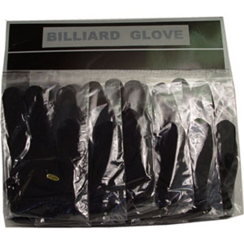 Sterling Black Billiard Gloves, Card of 12