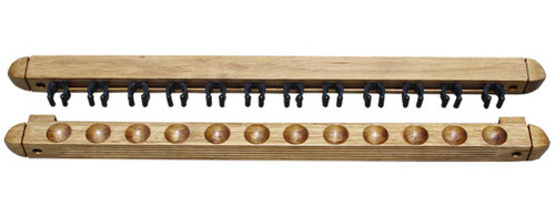 Roman-Style Two-Piece Wall Rack, Oak, 12 Cue