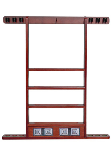Sterling Economy Wall Rack, Mahogany, 6 Cue w/Ball Rack & Scorers