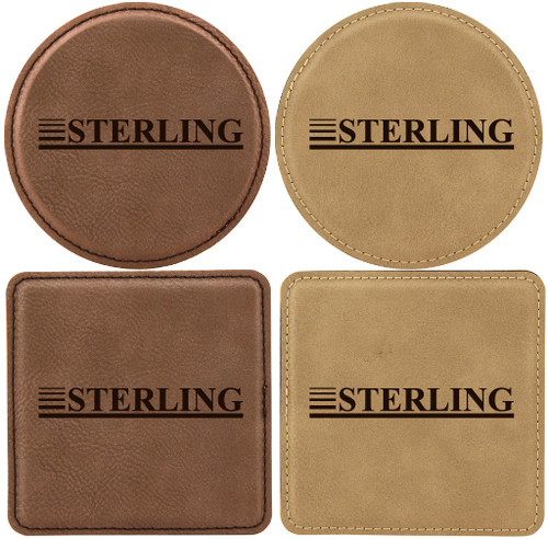 Custom Laser Engraved Square Leatherette Coaster