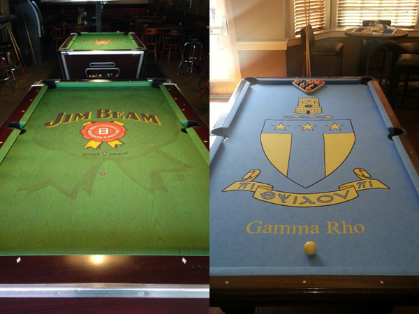 Custom Pool Table Felt - Jim Beam & Gamma Rho