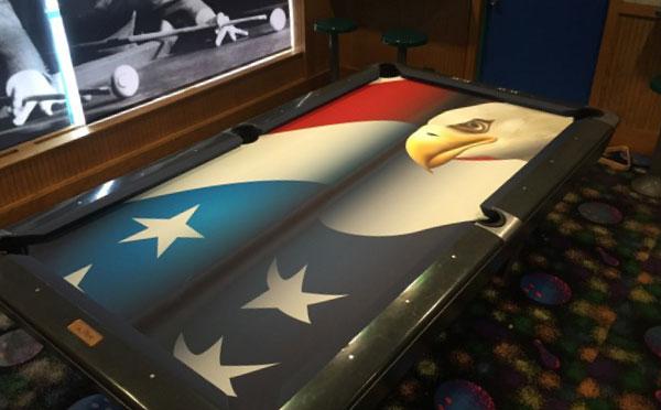 Custom Pool Table Felt - American Flag Bald Eagle