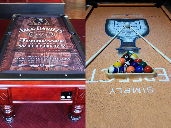 Custom Pool Table Felt - Jack Daniels and Patron