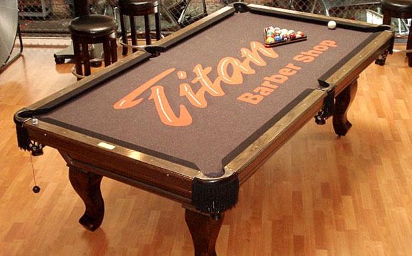 Custom Pool Table Felt - Titan's Barbershop