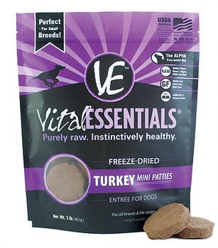 Vital Essentials Freeze Dried Mini Patties, Turkey, 1 lb.