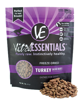 Vital Essentials Freeze Dried Mini Nibs, Turkey, 1 lb.