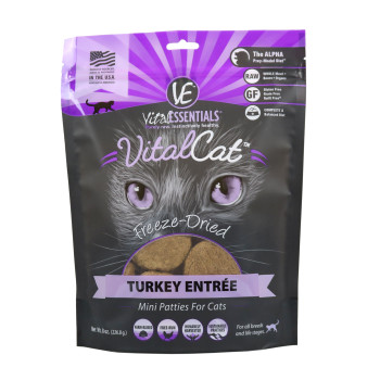 Vital Essentials Freeze Dried Cat Mini Patties, Turkey, 8 oz.