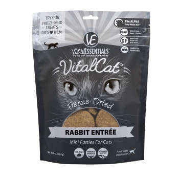 Vital Essentials Freeze Dried Cat Food, Rabbit Mini Patties, 8 oz.
