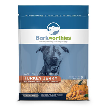 Barkworthies Turkey Jerky, with Pumpkin/Sweet Potato/Carrot, 4 oz.