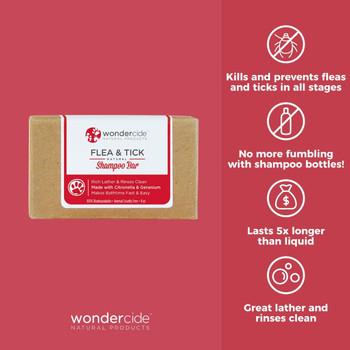 Wondercide Flea & Tick - Natural Shampoo Bar for Pets with Citronella & Geranium, 5.3 oz.