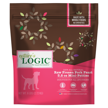 Nature's Logic Raw Frozen Pork Feast for Dogs or Cats, 3 lb. size  (3.2 oz. patties)