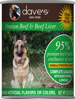 Dave's Pet Food 95% Premium Beef & Beef Liver Grain-Free Recipe Canned Dog Food, 12.5-oz
