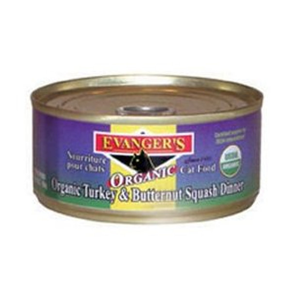 Evanger's Organics Turkey & Butternut Squash Dinner for Cats, 5.5 oz. can