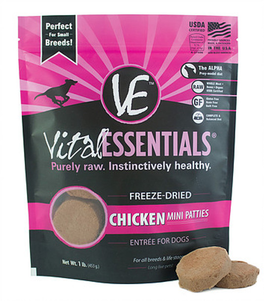 Vital Essentials Freeze Dried Mini Patties, Chicken, 1 lb.