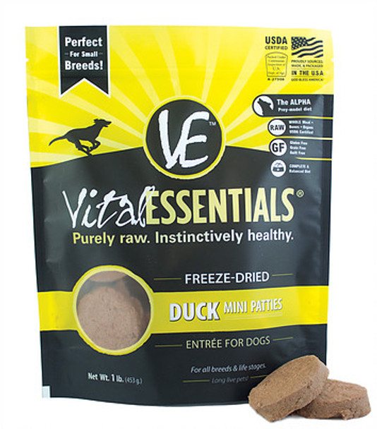 Vital Essentials Freeze Dried Mini Patties, Duck, 1 lb.