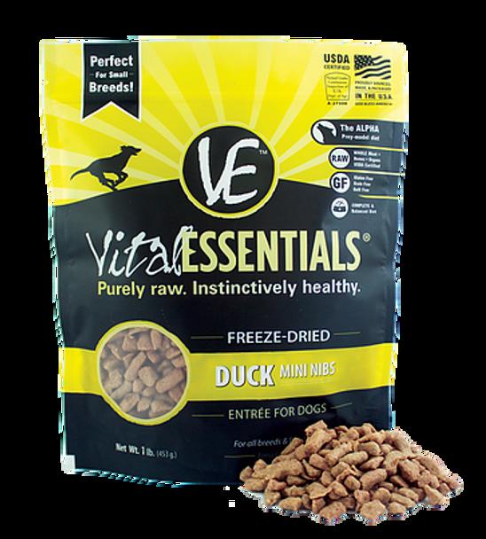 Vital Essentials Freeze Dried Mini Nibs, Duck, 1 lb.