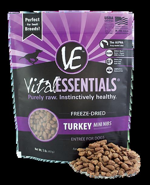 Vital Essentials Freeze Dried Mini Nibs, Turkey, 1 lb.