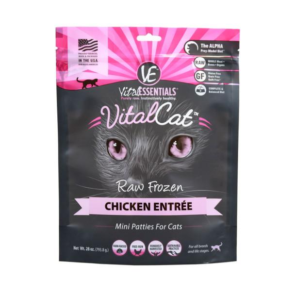 Vital Essentials Raw Frozen Cat Mini Patties, Chicken, 28 oz.