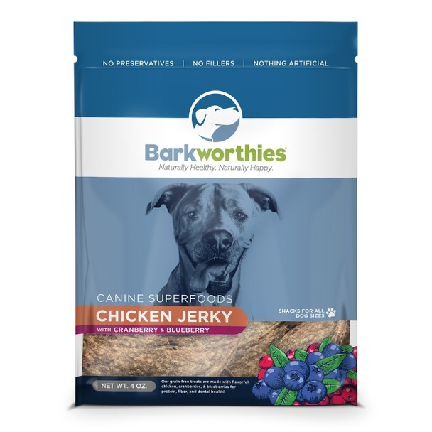 Barkworthies Chicken Jerky, with Cranberry/Blueberry, 4 oz.