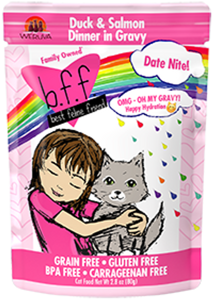 BFF OMG - Date Night Duck & Salmon Cat Food Pouch, 2.8 oz.