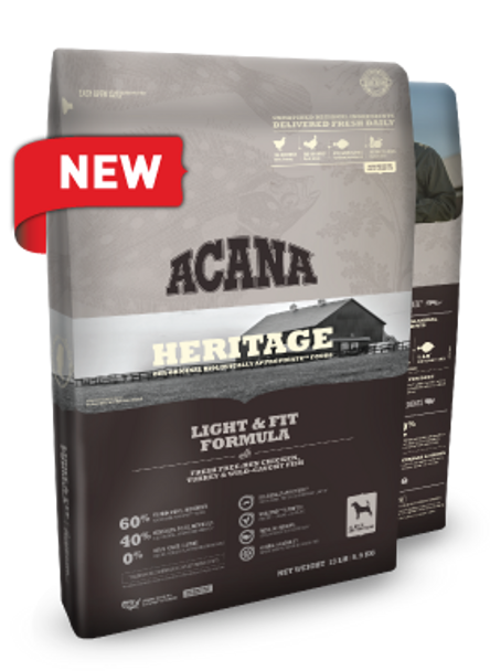 Acana Heritage Light & Fit (Chicken, Turkey, Fish) for Dogs (Choose size to view price)