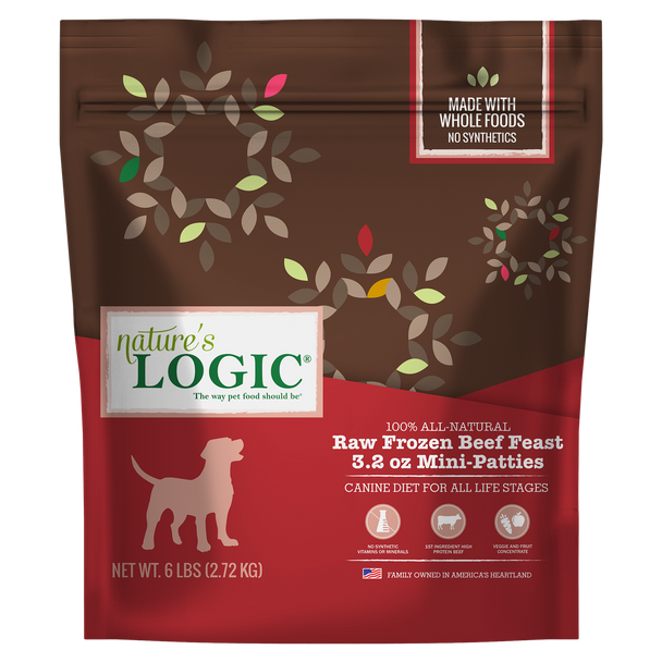 Nature's Logic Raw Frozen Beef Feast for Dogs or Cats, 3 lb. size  (3.2 oz. patties)