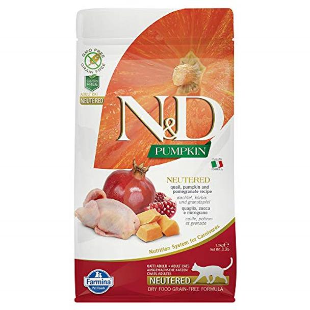 Farmina N&D Grain Free Neutered Chicken/Pomegranate Cat, 3.3 lb.