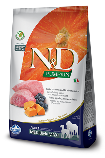 Farmina N&D  Lamb, Pumpkin & Blueberry Dog Food, Med/Maxi Size, 26.4 lb.