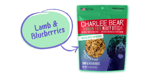Charlee Bear Meaty Bites, Lamb Blueberry, 2.5 oz.