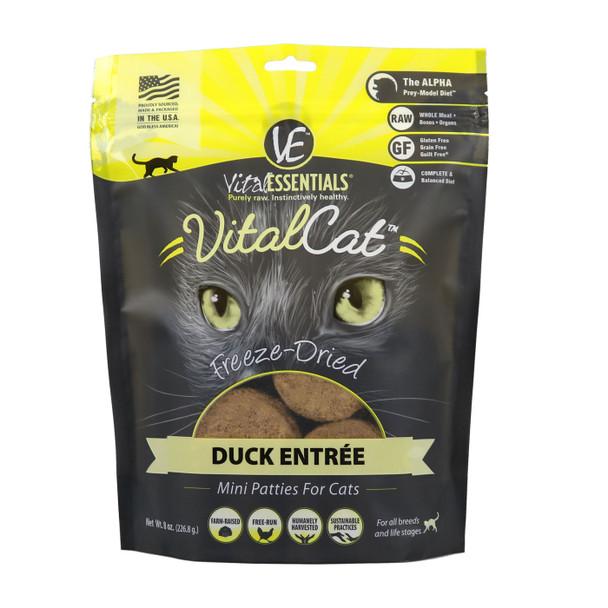 Vital Essentials Freeze Dried Cat Mini Patties, Duck, 8 oz.