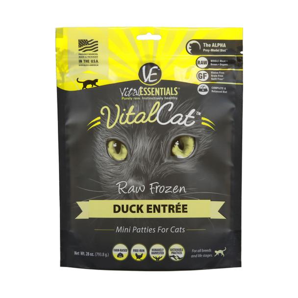 Vital Essentials Raw Frozen Cat Mini Patties, Duck, 28 oz.