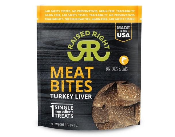 Raised Right Meat Bites, Turkey Liver, 5 oz.