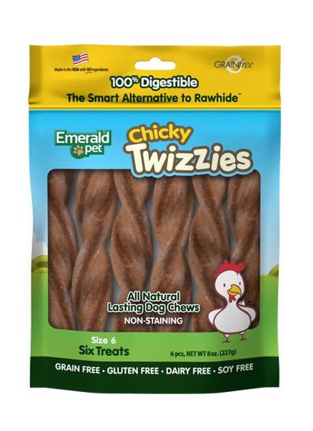"""Emerald Pet ChickyTwizzies, 6"""" (Bag of 6)"""