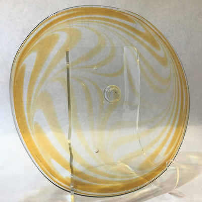 """Blown Rondels - Feathered - 12"""" Clear with Amber"""