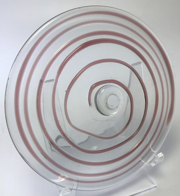 """Blown Rondels - Hot Wrap - 4"""" Clear with Purple Wrap"""