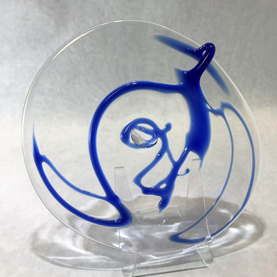 """Blown Rondels - Wacky Wrap - 8"""" Clear with Blue"""