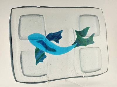 Large Specialty Fused Serving Board - Clear with Blue Koi Fish
