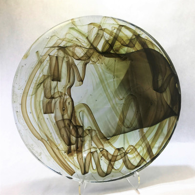 """Dalle de Verre – 16"""" Round - Clear Base with Two Shades of Amber"""