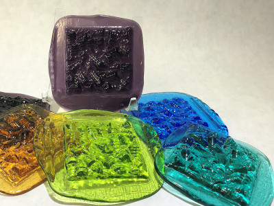Barrel Art Glass Pressed Jewel Shown in Assorted Colors