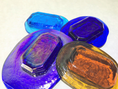 Faceted Art Glass Pressed Jewel Shown in Assorted Colors