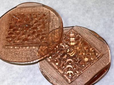 Fleur Art Glass Pressed Jewel Shown in 880 Pink (Rose)