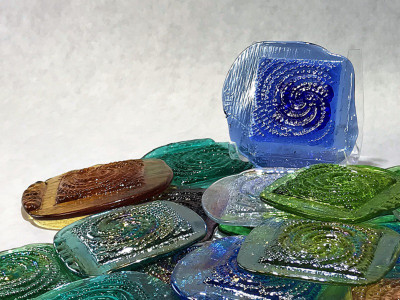 Galaxy Art Glass Pressed Jewel Shown in Assorted Colors