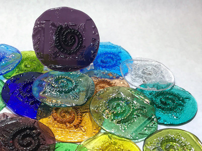 Spiral Art Glass Pressed Jewel Shown in Assorted Colors