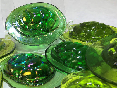 Turtleback Art Glass Pressed Jewel Shown in Assorted Greens